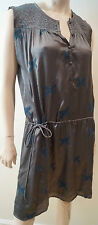 ZADIG & VOLTAIRE Grey Beige Sheen Butterfly Embroidered Sleeveless Dress S BNWT