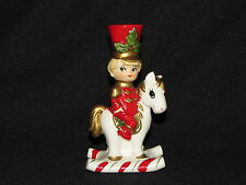 Vintage Lefton Christmas Tapered Candle Holder Toy Soldier on Rocking Horse
