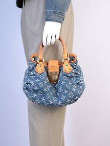 Women's Louis Vuitton Blue Brown Monogram Denim Leather Pleaty Small Hand Bag