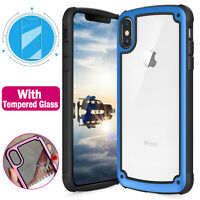 For Apple iPhone X XS Max XR TransparentClearPC+TPUBumperCase+Tempered Glass