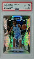 2019-20 Panini Draft Picks Silver Prizm Coby White Rookie RC #8, Graded PSA 10