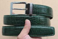 Green Genuine Alligator Crocodile Belly Leather Skin Men's Belt
