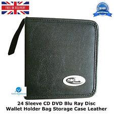 1 X Manga 24 CD DVD Blu Ray Disc Billetera Soporte Bolsa De Almacenamiento Estuche De Cuero