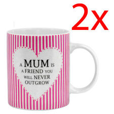2 X A MUM IS A FRIEND COFFEE TEA MUG KITCHEN MOTHERS DAY GIFT PRESENT MUM MOM