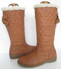 SIZE 6 39 WOMENS BROWN TAN FAUX FUR LINED WINTER MID CALF LOW HEEL PULL ON BOOTS