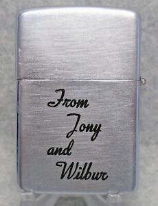 Vintage Zippo windproof advertising lighter From Tony and Wilbur 1937-1950 RARE