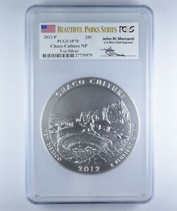 SP70 2012-P Chaco Culture NP ATB 5 Oz Silver Beautiful Parks Signed - PCGS *1342