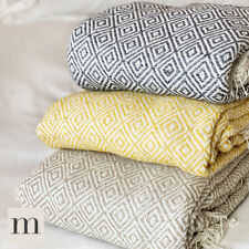 Luxury 100% Cotton ECO Grey / Ochre / Beige / Pink Sofa Bed Throw Blanket Fringe