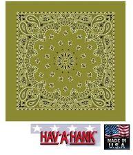 Fabriqué aux USA Hav-A-Hank Vert Olive Paisley Bandana Écharpe Scarve Tête