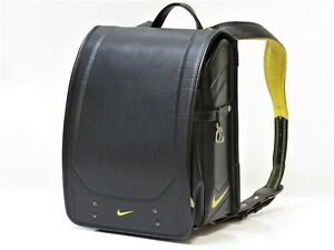 NIKE Student School Leather Backpack Rucksack Randoseru Bag Women Black 18630814