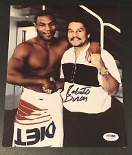 Roberto Duran Signed Photo W/ Mike Tyson PSA COA Vintage Boxing Autograph Clean