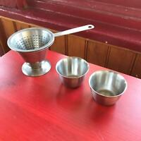 "2.5"" Small Cup Cone Strainer w Two Thimble Cups and Holder Sweden Stainless 18/8"