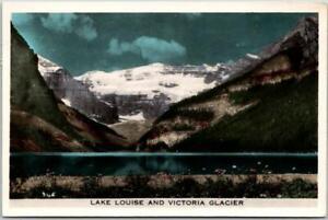 """1954 Banff Alberta Canada RPPC Photo Postcard """"Lake Louise & Victoria Glacier"""""""