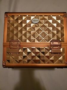 Makeup Train Case Cosmetic Box 10 Inches Jewelry Organizer Rose Gold 5S3
