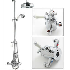 Thermostatic Ceramic Shower Mixer Exposed Valve Chrome Solid Brass Bathroom Unit