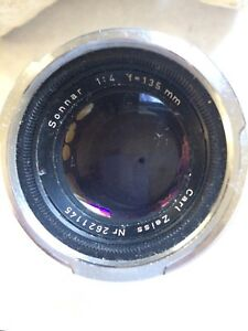 Carl Zeiss Jena Sonnar 1:2 8.5cm Rangefinder with leather case