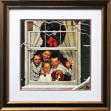 "Norman Rockwell ""Oh Boy! Pop with a New Car"" CUSTOM FRAMED Art   Xmas Americana"