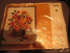 CREATIVE CIRCLE SEALED WILDWOOD SUNFLOWERS BOUQUET PERSIAN WOOL NEEDLEPOINT