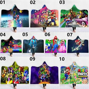 Super Mario Galaxy Velvet Fleece Hooded Blanket Warm Hoodie Cloak Blanket Flat