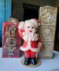 "Vintage 5"" GURLEY Santa Candle and Two Christmas ""JOY"" Pillar Candles"
