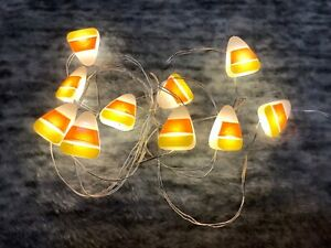 Pier 1 Imports Halloween 5' LED Candy Corn Glimmer String 10 Lights NWT