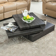 Modern Black Oak Square Rotating Wood Coffee Table with 3 Layers Living Room