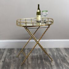 Gold Leaf Oval Table with Mirror Top Hollywood Regency Aesthetic Folding