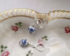 FLASH SALE ~ Porcelain Bead Fashion Earrings - Blue & White/Silver/Round/Floral
