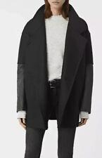 New All Saints Women Meade Lea Coat Jacket Black Size-12