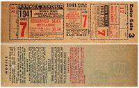 1941 Baseball World Series Yankees vs Dodgers Full Ticket Game 7 DiMaggio MINT