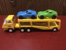 Vintage 1970's Yellow Mini Tonka Car Carrier Hauler With Two Plastic Cars.