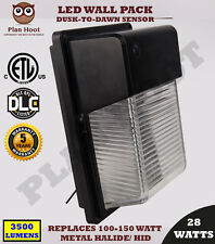 LED Wall Pack 28Wt Outdoor Dusk to Dawn Sensor ETL DLC  Replaces 150W HID 5700K