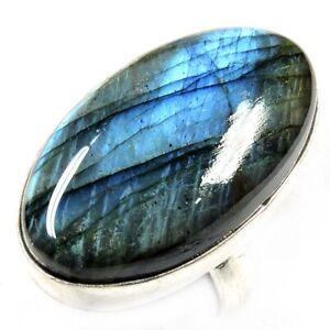 50.00Cts Genuine Labradorite Gemstone Silver Overlay Handmade Ring Size 10