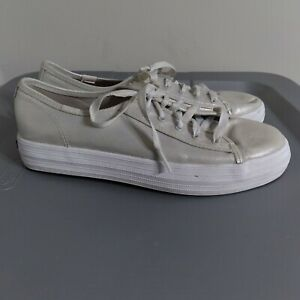 Keds Triple Kick Youth Big Kids Size 6M Shimmer Low Top Gray Walking Sneakers