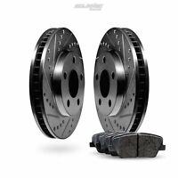 Fit 2001-2002 GMC Savana 2500 Front Black Drill Slot Brake Rotors+Ceramic Pads