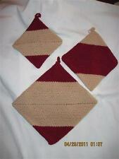 AWESOME THICK Crochet Potholders set of 3.....Beige & Rust.....Hand made