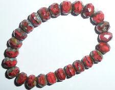 Gorgeous Deep Orange Coral Czech Glass Rondelle Beads 6x8mm Orange Beads (25)