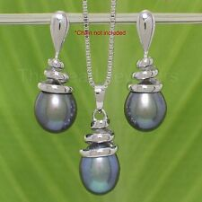 14k White Gold 8-9mm Peacock Pearl Dangle Earring and Pendant Well Matched TPJ