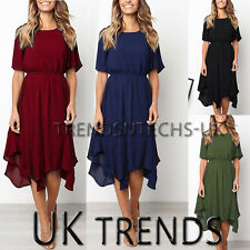 Womens Skater Asymmetric Midi Dress Summer Holiday Party Pleated UK Size 6-14