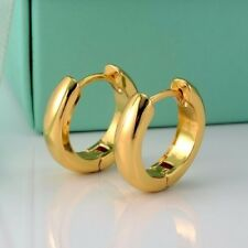 24k Yellow Gold Filled Smooth Earrings 14MM Women's Hoop 3mm GF Fashion Jewelry