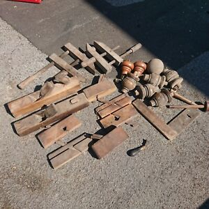 Vintage carpentry / woodworking tools job Lot. Wooden Planes, vices etc