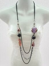 Triple Strand Metal Marble Multi Purple Lucite Bead and Gray Pearl Long Necklace