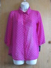 NWT Cherokee 3/4 Sleeve Fusia Sheer  Button Down Girls Juniors Size XL 14-16