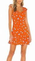 Free People Womens Like A Lady Mini Dress Orange XS Floral Ruffle $108 576