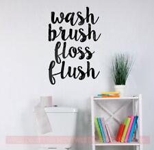 Bathroom Wall Decor Sticker Wash Brush Floss Flush Vinyl Letter Art Decal Quote