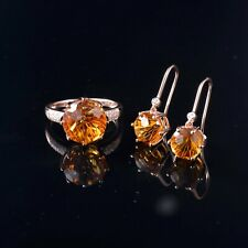 10.0CT Natural Yellow Citrine Earrings & Ring Set Diamonds Solid 14K Yellow Gold
