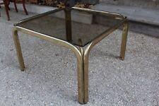Tavolino quadrato vetro e ottone dorato vintage buone condizioni - anni '80