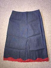 Must See Betsey Johnson New York Vintage 100% Cotton Denim Skirt w/ Lace Trim S