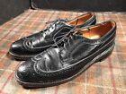 Florsheim Royal Imperial Black Leather Wingtip Vintage Shoes Mens 10.5 A V Cleat