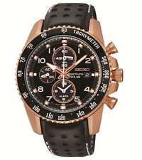 New Seiko SSC274 Sportura Solar Chrono Rose-Tone Men's Leather Strap Watch